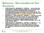 references meta classifiers for text documents