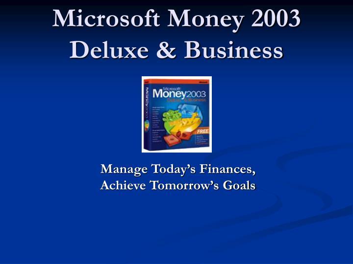 Microsoft money 2003 deluxe business