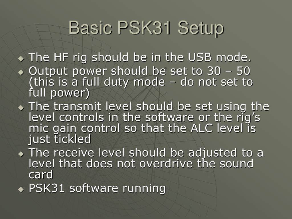 Basic PSK31 Setup