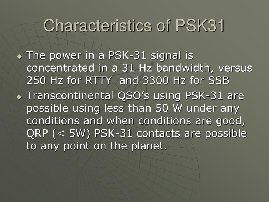 Characteristics of PSK31
