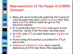 representation of the people act 1884 comment