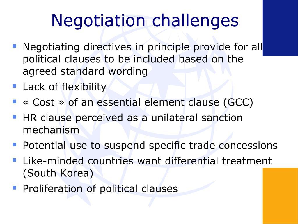 Negotiation challenges