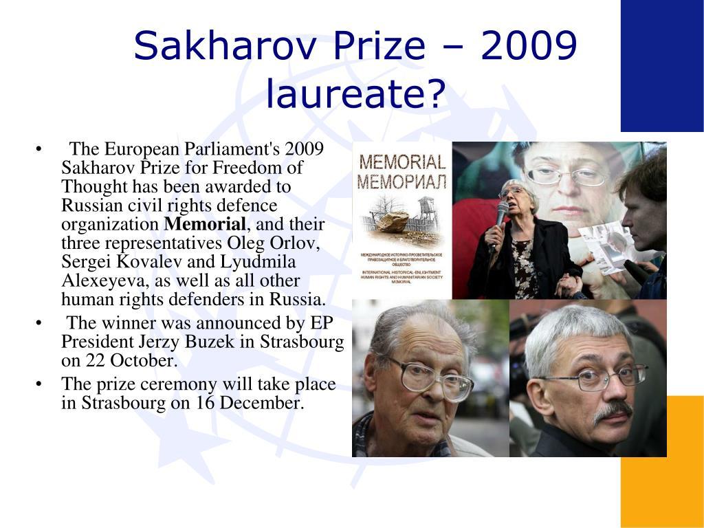 Sakharov Prize – 2009 laureate?