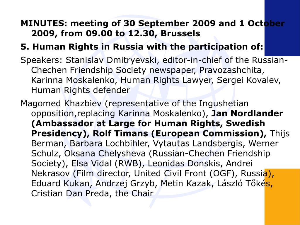 MINUTES: meeting of 30 September 2009 and 1 October 2009, from 09.00 to 12.30, Brussels