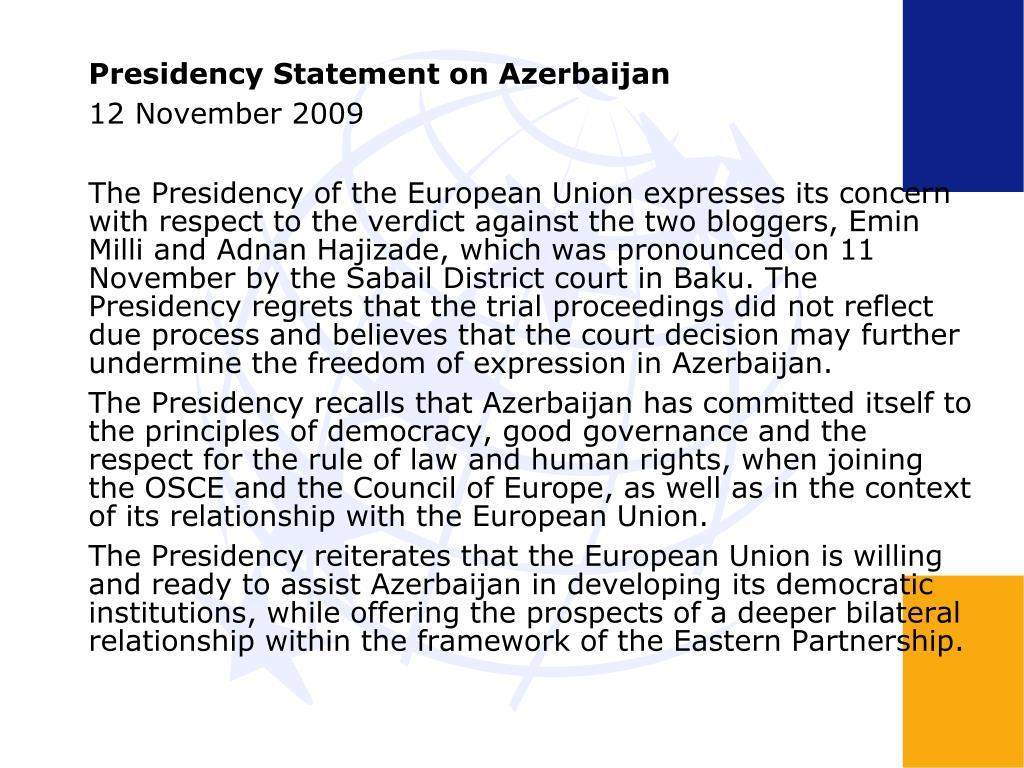 Presidency Statement on Azerbaijan