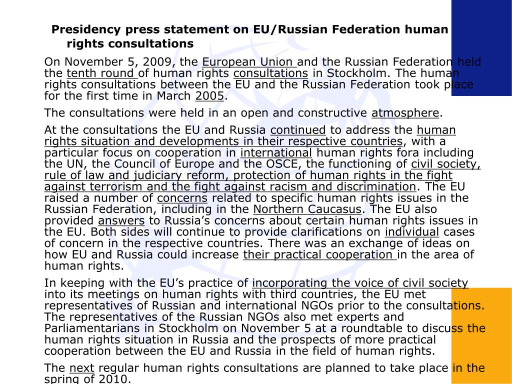 Presidency press statement on EU/Russian Federation human rights consultations