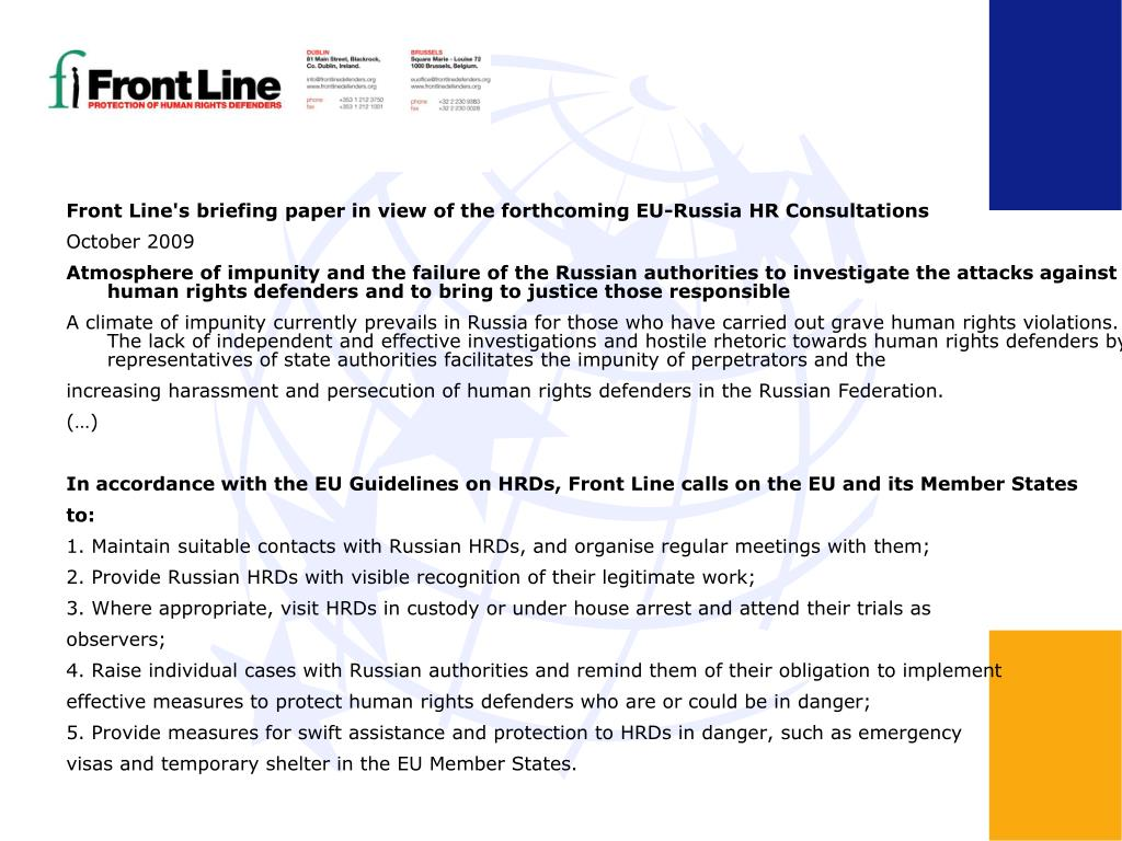 Front Line's briefing paper in view of the forthcoming EU-Russia HR Consultations