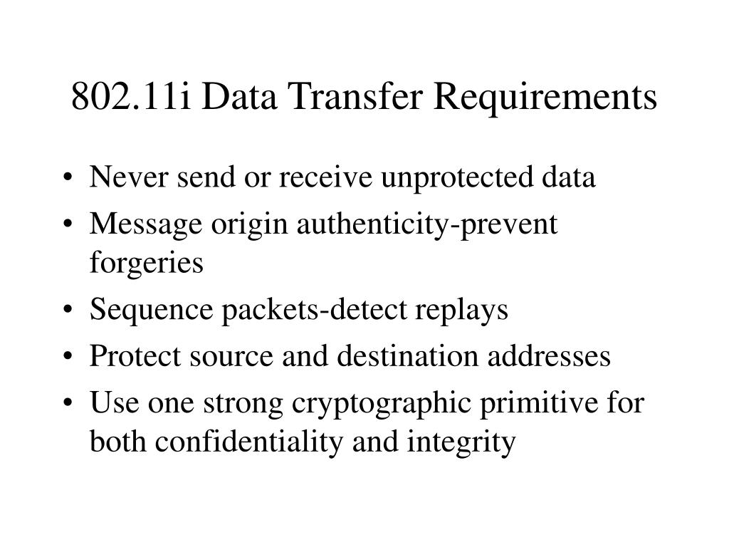 802.11i Data Transfer Requirements