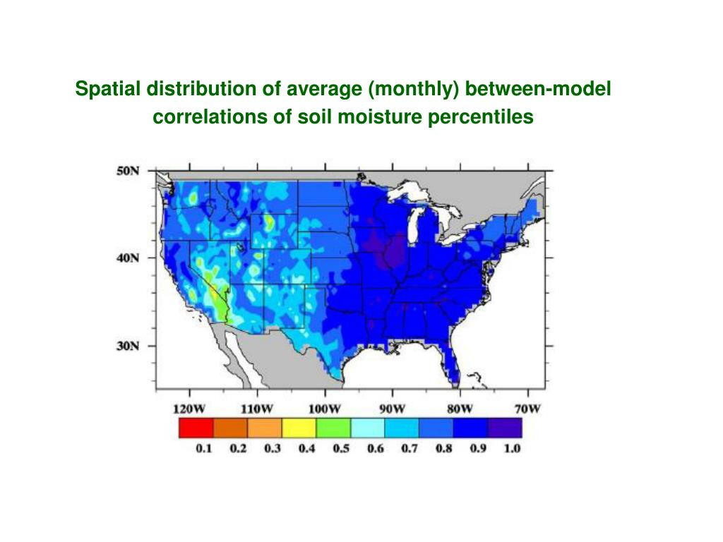 Spatial distribution of average (monthly) between-model correlations of soil moisture percentiles