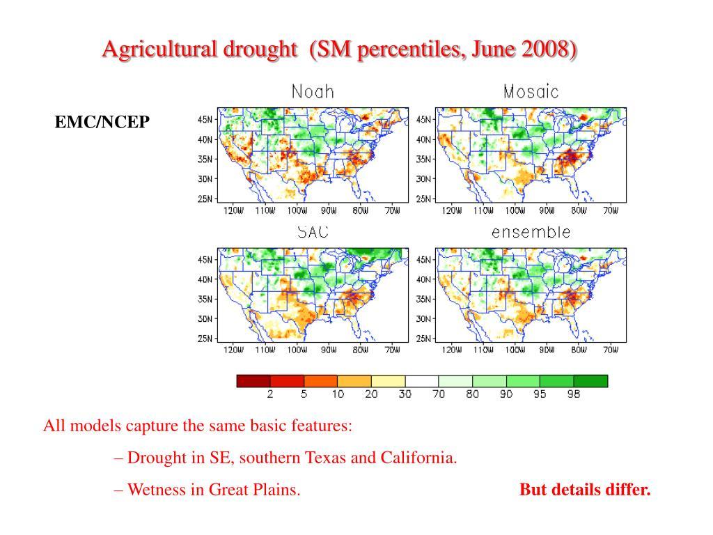 Agricultural drought  (SM percentiles, June 2008)
