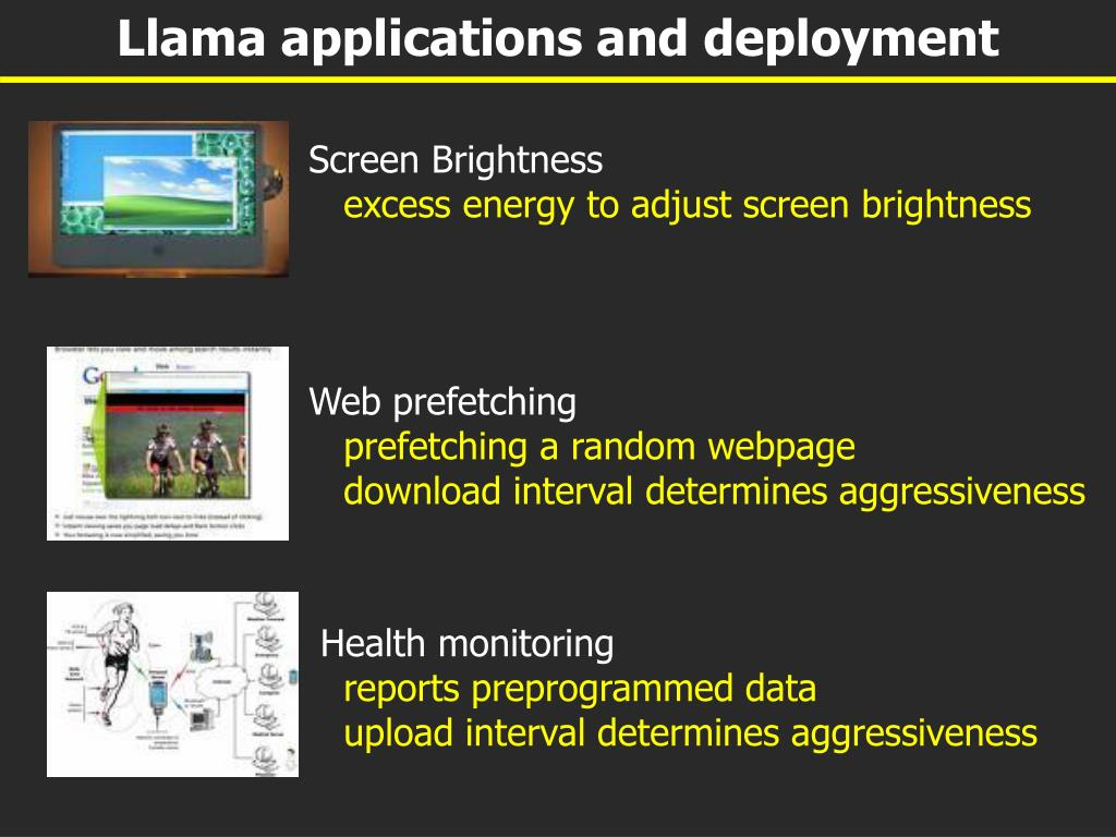 Llama applications and deployment