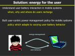 solution energy for the user