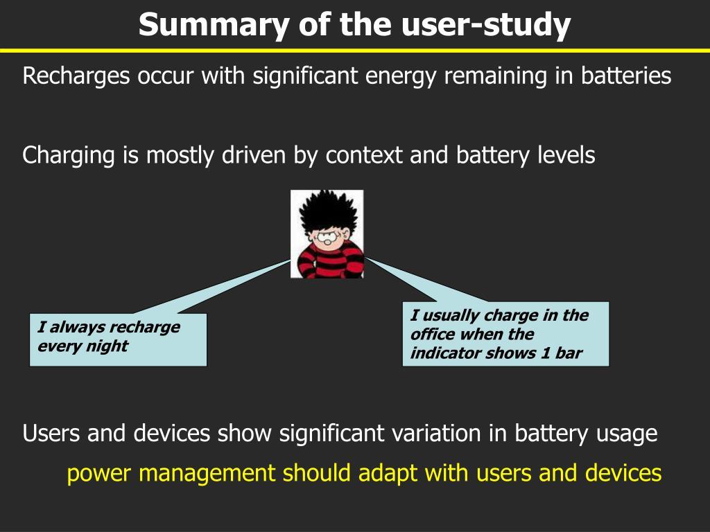 Summary of the user-study