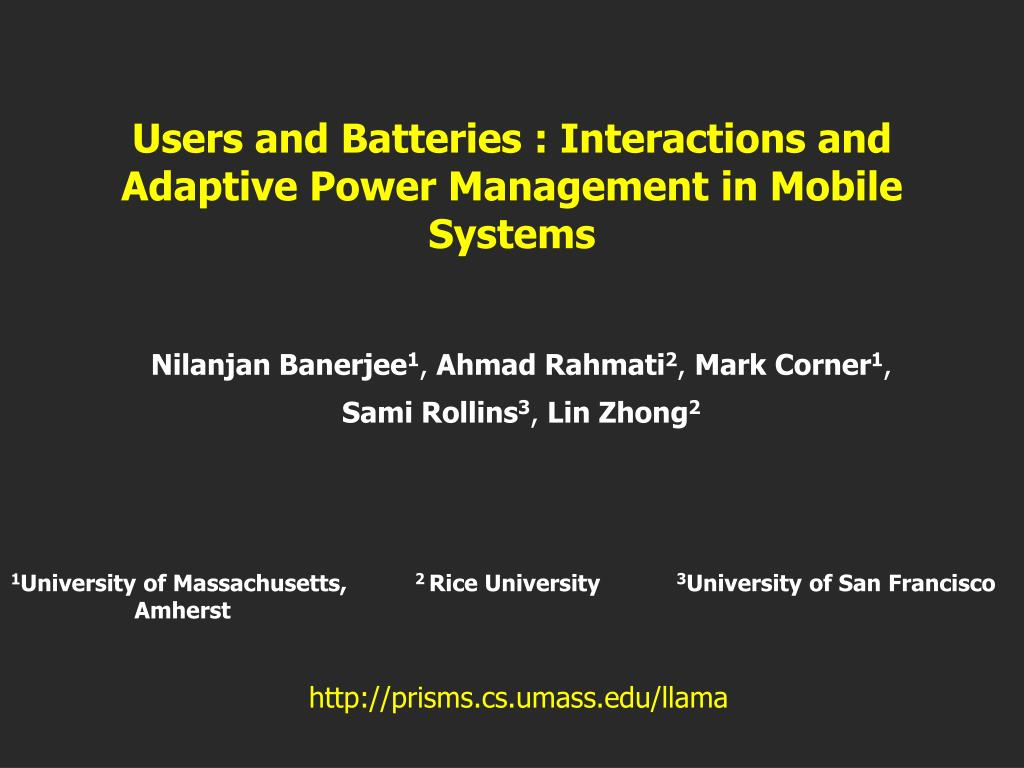 users and batteries interactions and adaptive power management in mobile systems l.