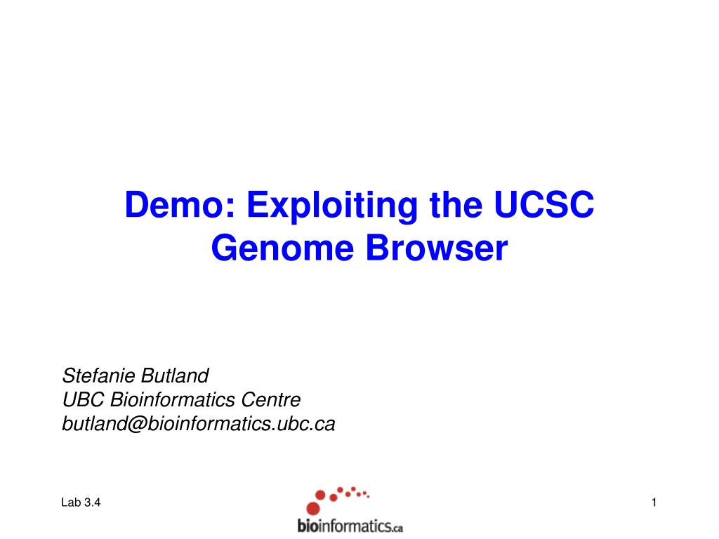 Demo: Exploiting the UCSC Genome Browser