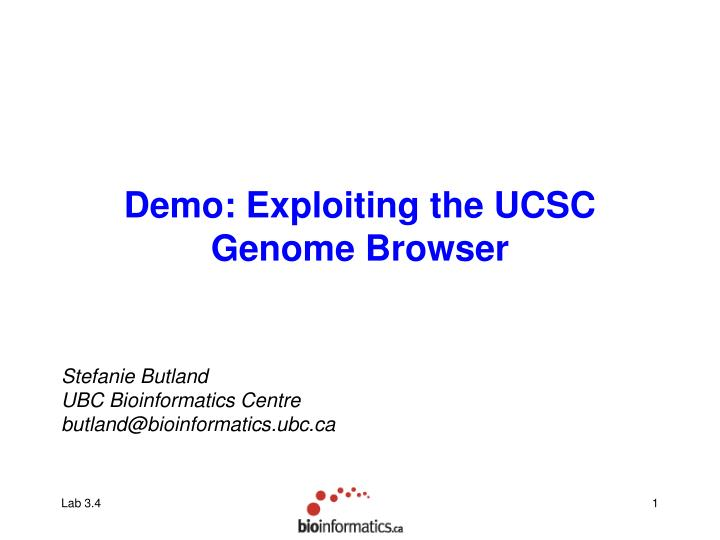 Demo exploiting the ucsc genome browser