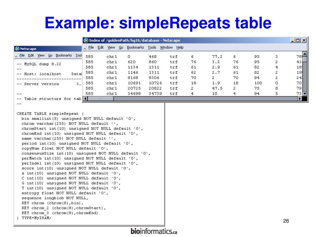 Example: simpleRepeats table