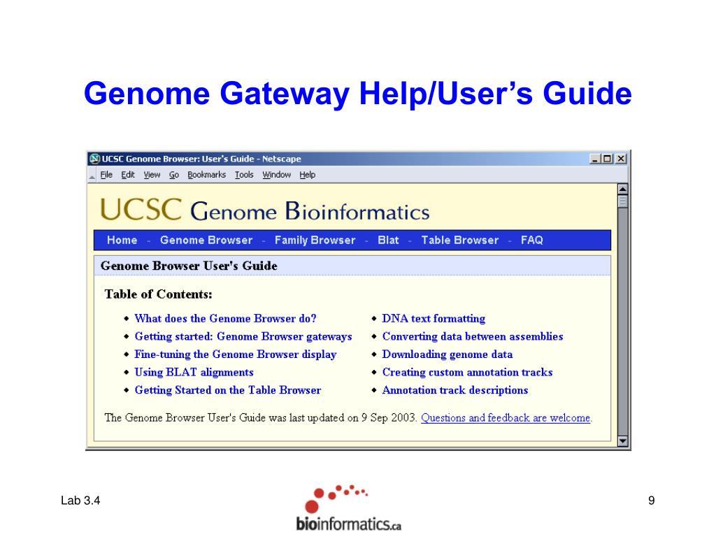 Genome Gateway Help/User's Guide