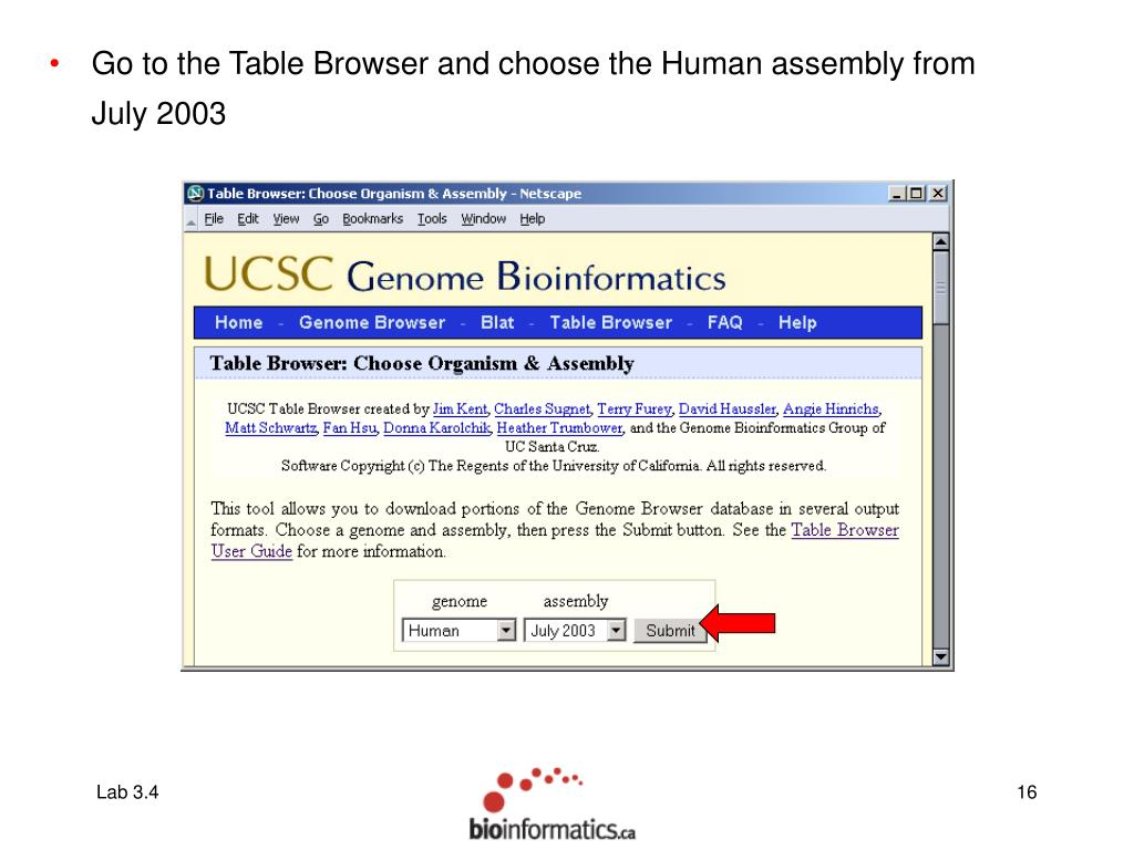 Go to the Table Browser and choose the Human assembly from July 2003