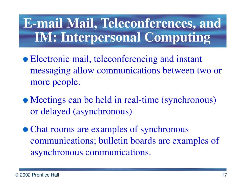 E-mail Mail, Teleconferences, and IM: Interpersonal Computing