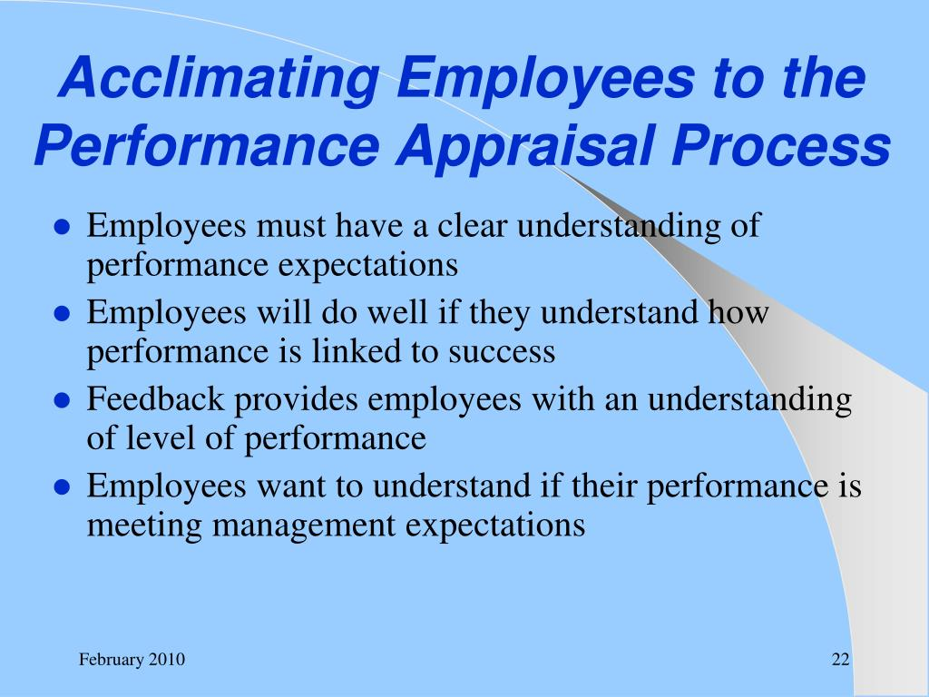Acclimating Employees to the Performance Appraisal Process