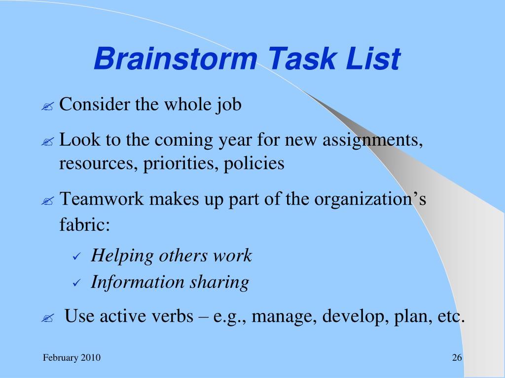 Brainstorm Task List