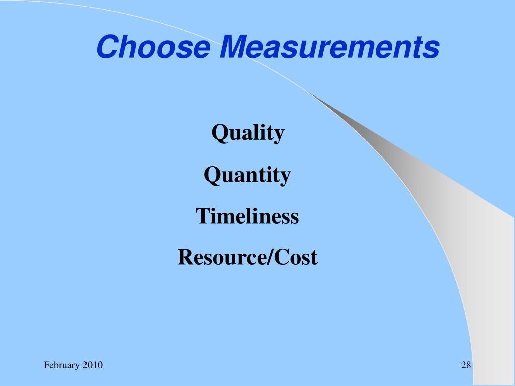 Choose Measurements