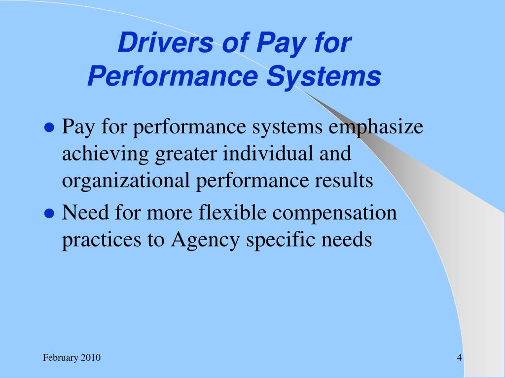 Drivers of Pay for Performance Systems