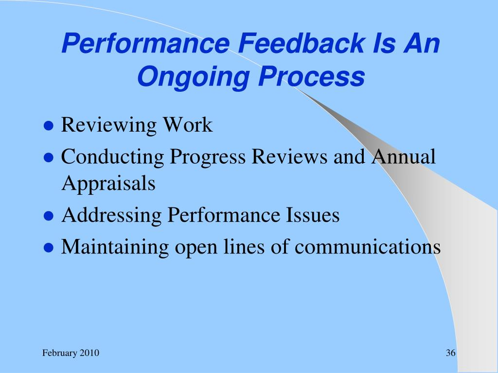 Performance Feedback Is An Ongoing Process