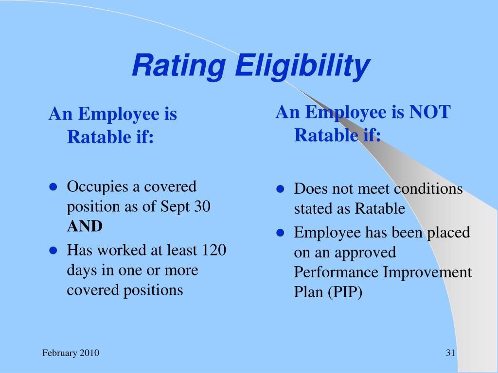 Rating Eligibility