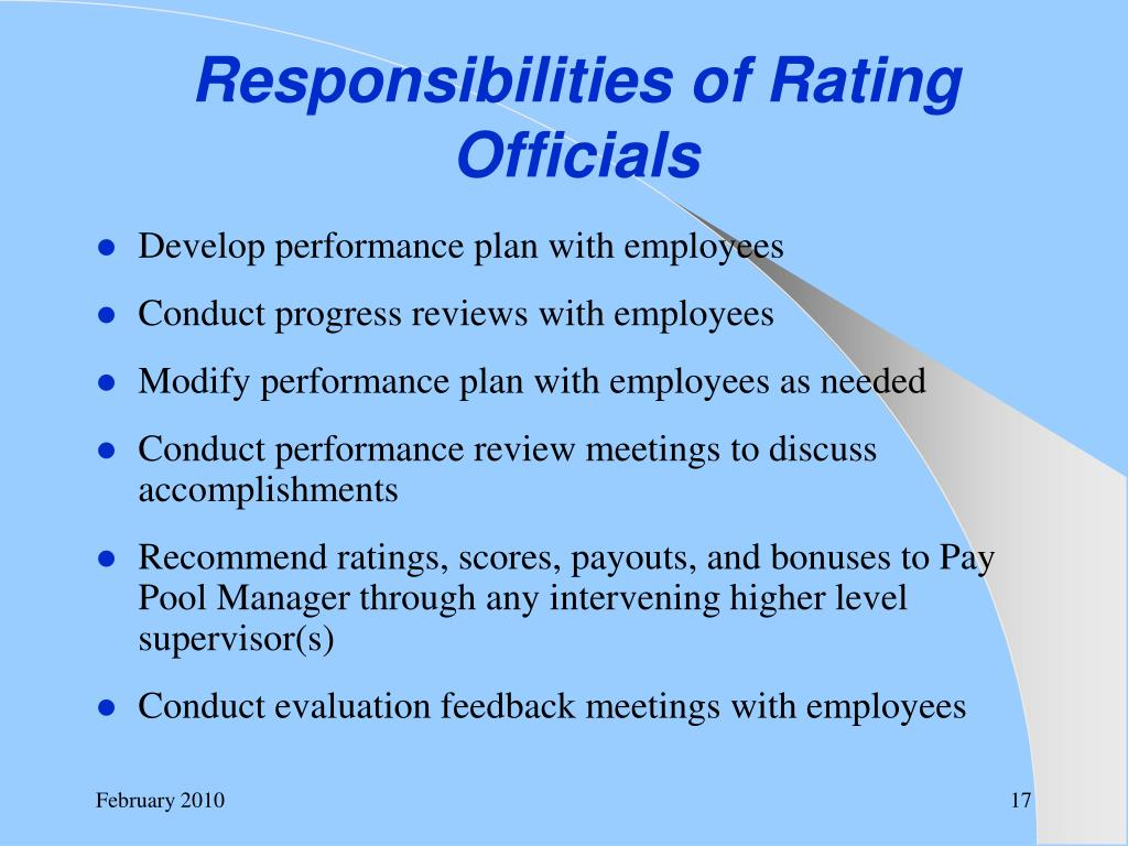 Responsibilities of Rating Officials