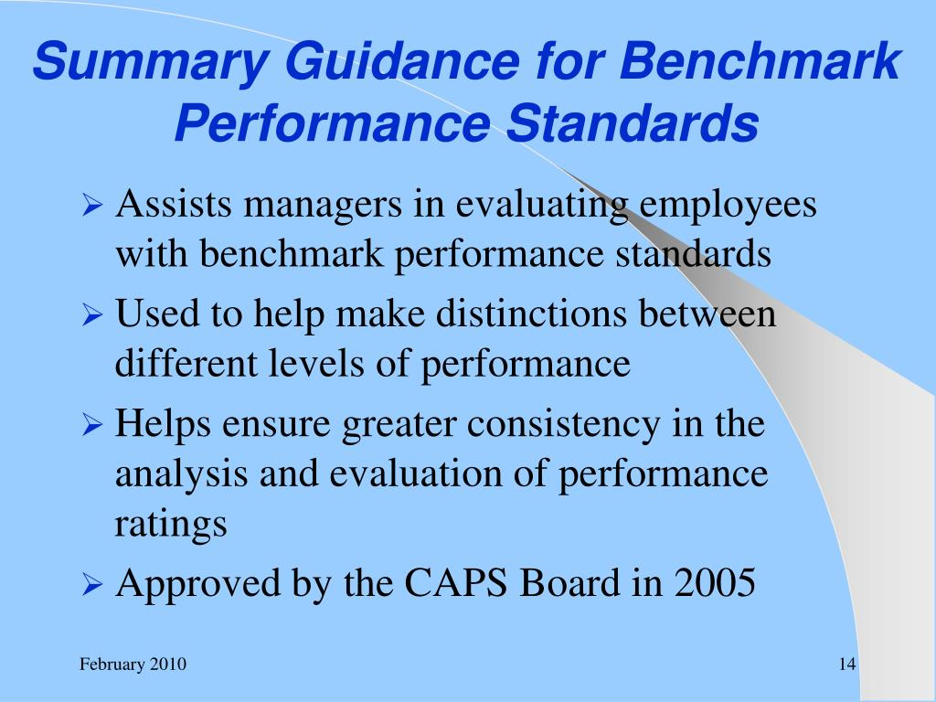 Summary Guidance for Benchmark Performance Standards