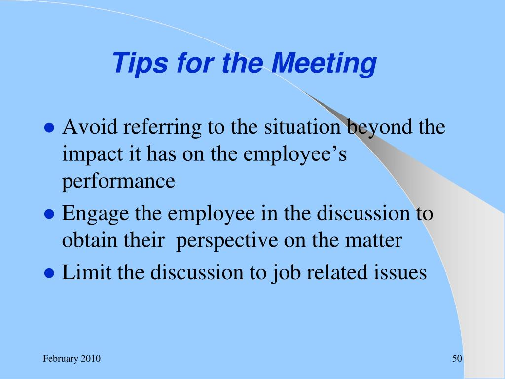 Tips for the Meeting