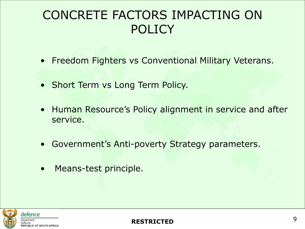 CONCRETE FACTORS IMPACTING ON POLICY