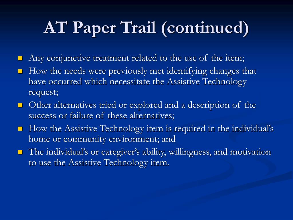 AT Paper Trail (continued)