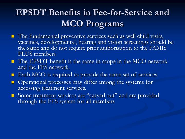 Epsdt benefits in fee for service and mco programs