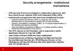 security arrangements institutional mechanisms