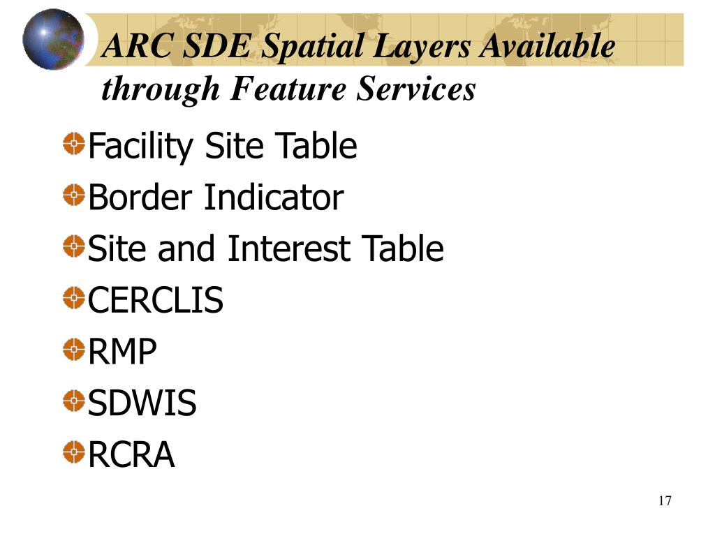 ARC SDE Spatial Layers Available through Feature Services
