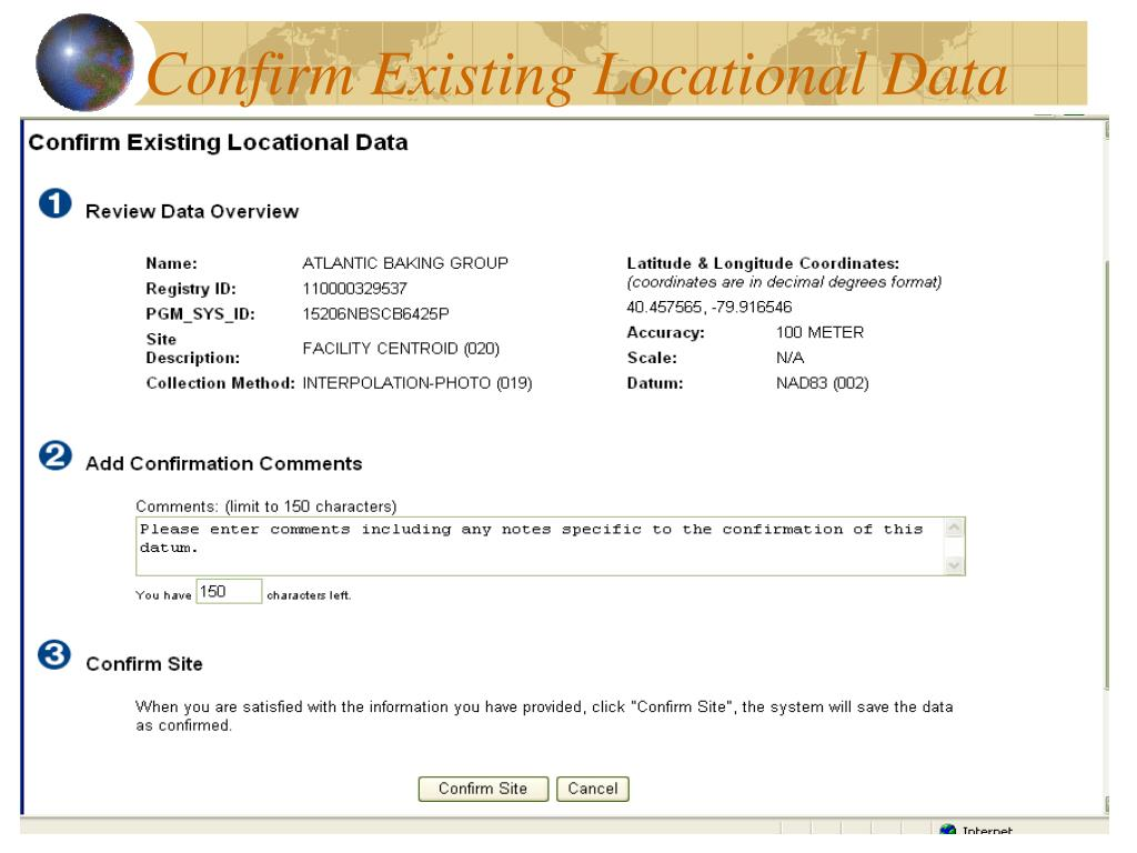 Confirm Existing Locational Data