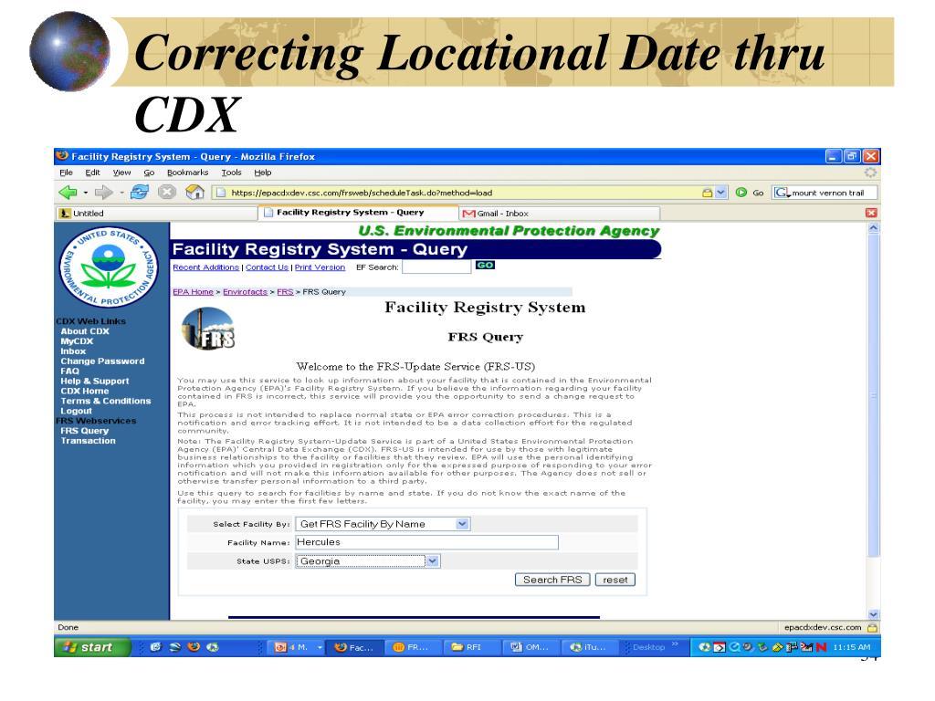 Correcting Locational Date thru CDX