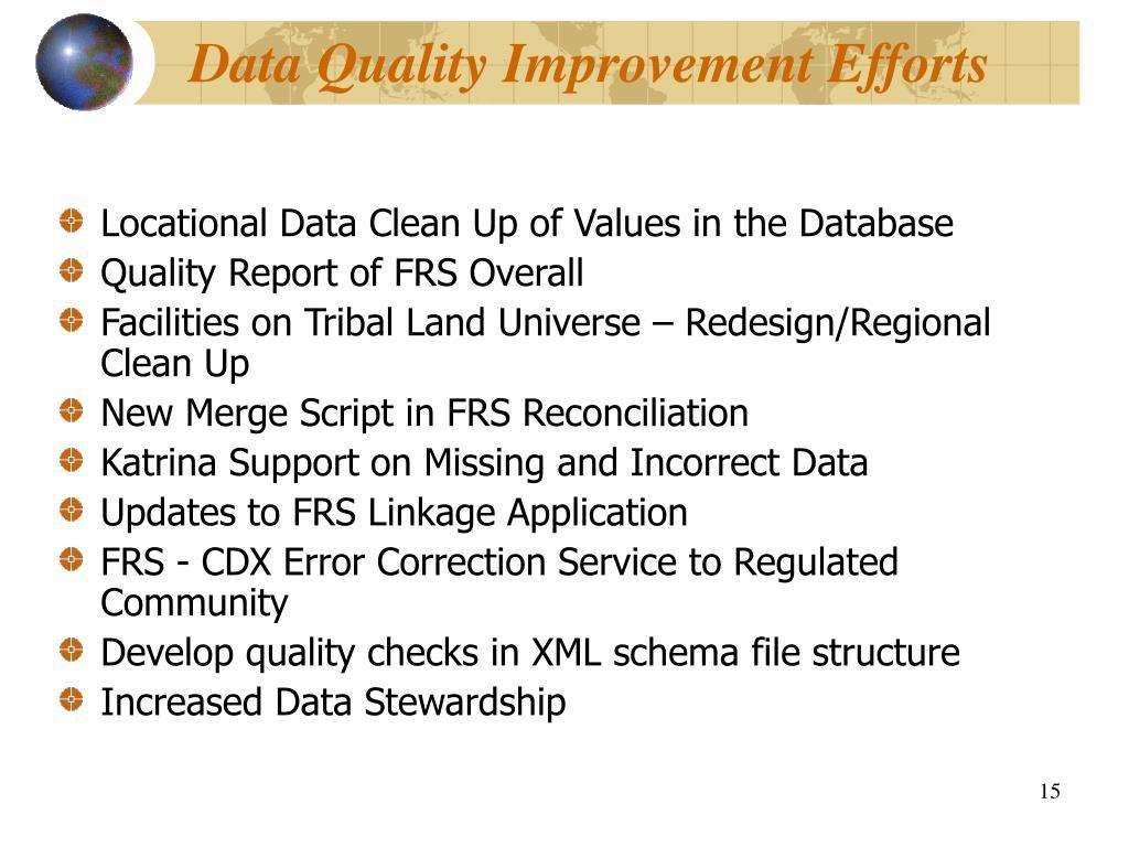 Data Quality Improvement Efforts