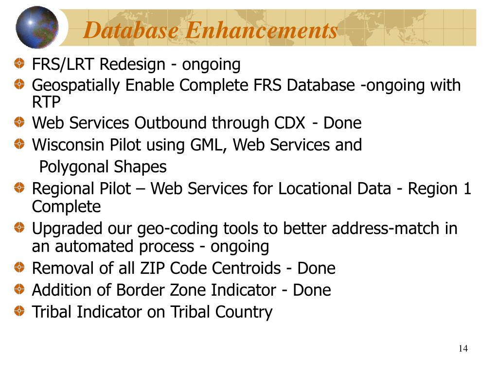 Database Enhancements