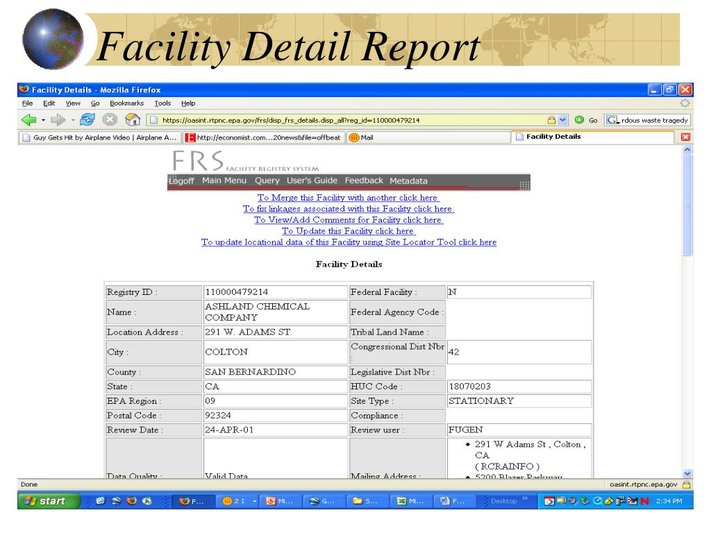 Facility Detail Report