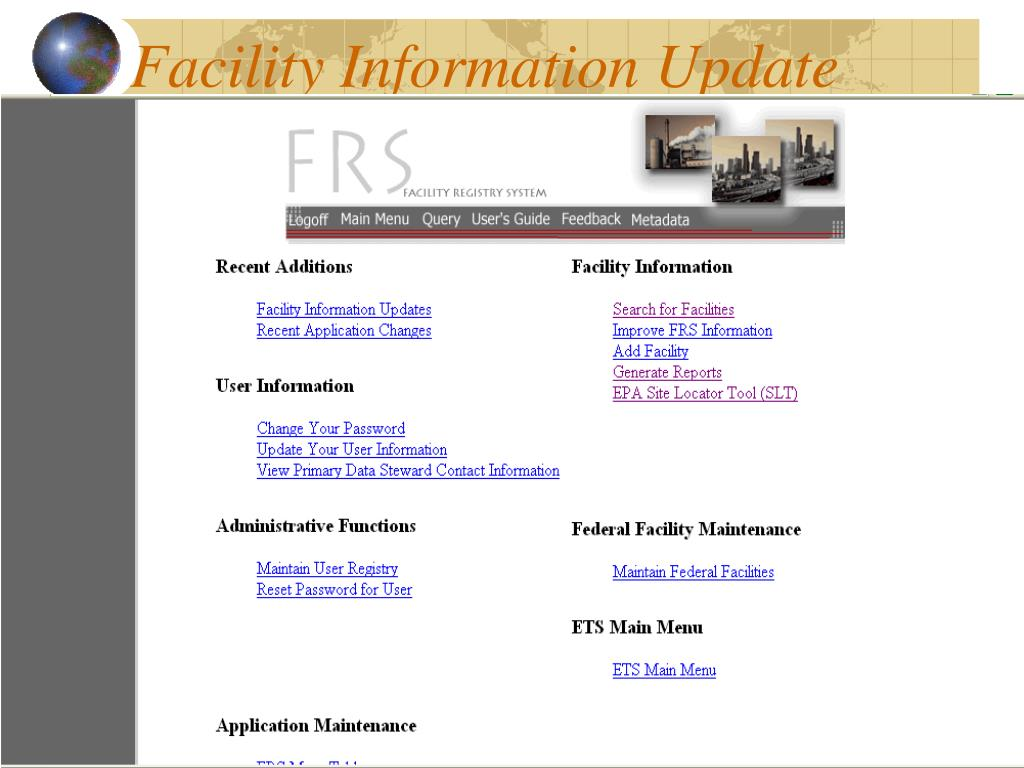 Facility Information Update
