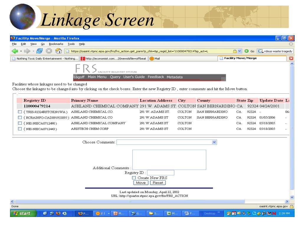 Linkage Screen