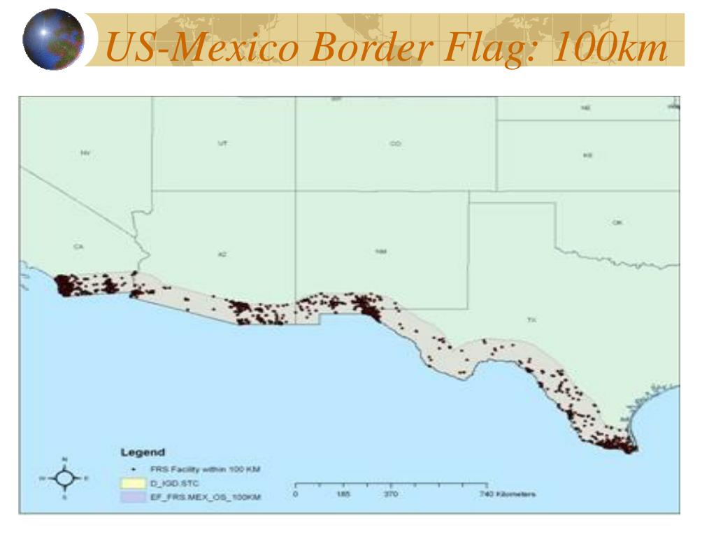 US-Mexico Border Flag: 100km