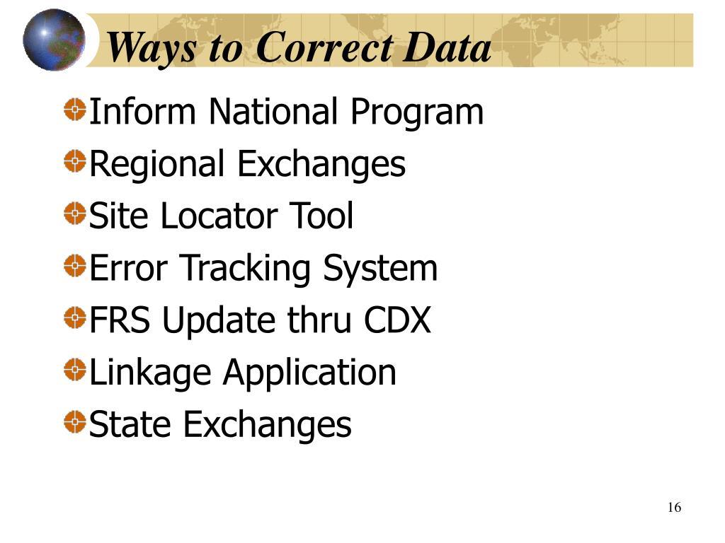 Ways to Correct Data