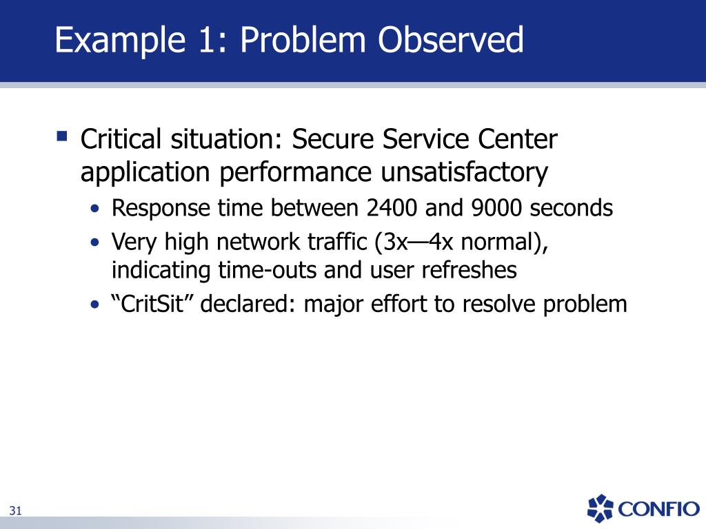 Example 1: Problem Observed