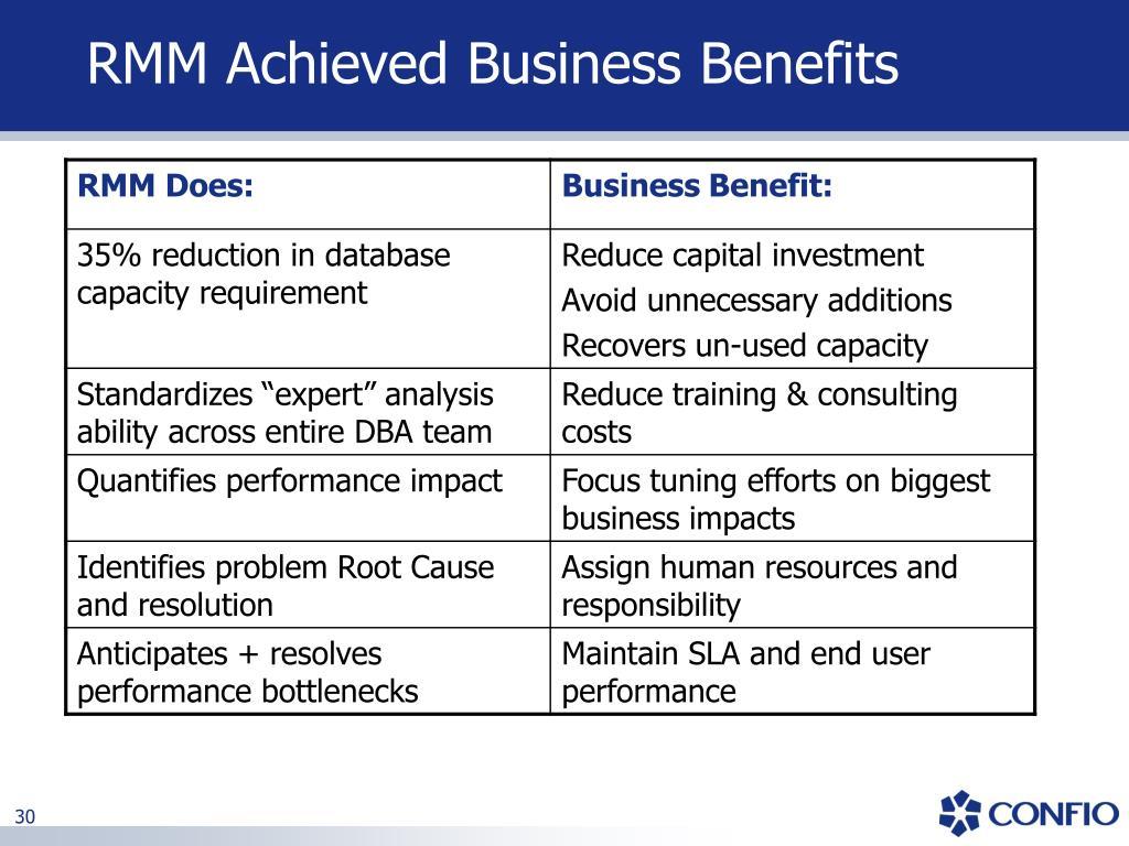 RMM Achieved Business Benefits