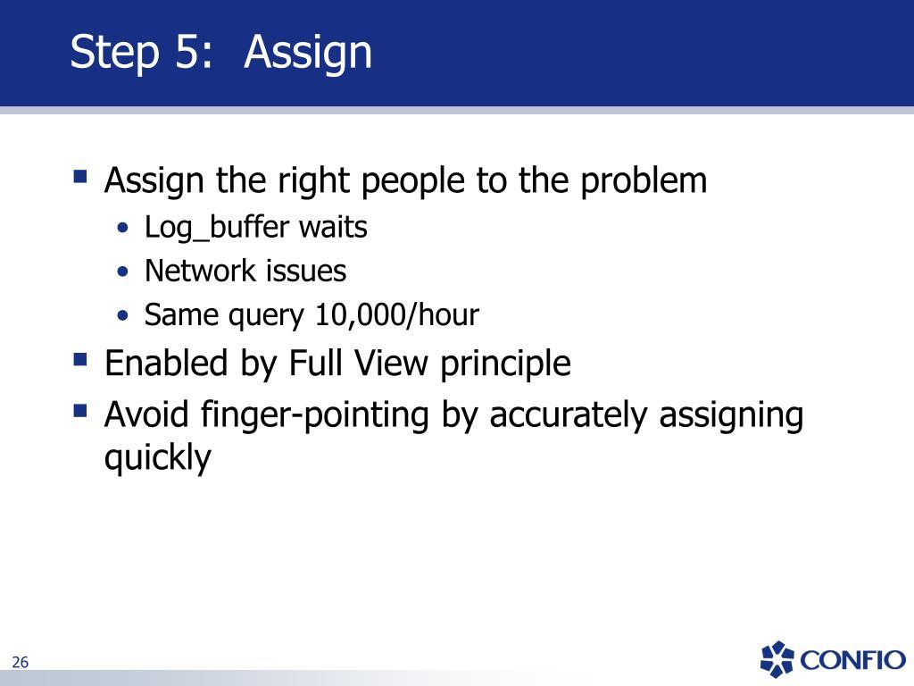 Step 5:  Assign